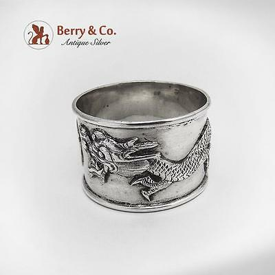 Dragon Napkin Ring Sterling Silver Chinese Export 1910