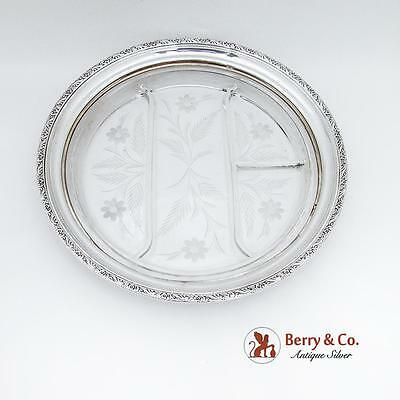 Large Floral Sectional Serving Plate Tray Cut Glass Sterling Silver 1940