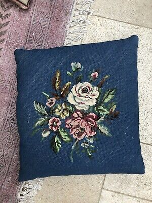 Antique Blue Floral Tapestry Square Cushion