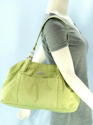 Baggallini Green Nylon HAMPTON Shoulder Bag Travel Satchel Purse Large $80 EXC
