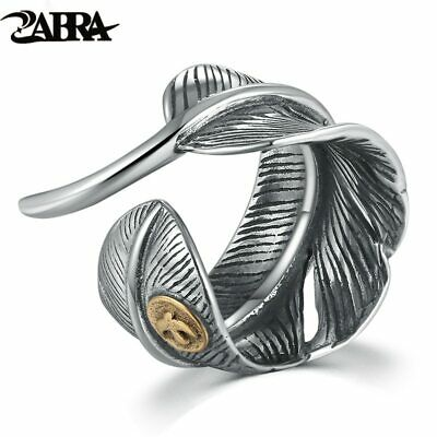 ZABRA Real Silver 925 Vintage Feather Black Size Adjustable Ring For Men Women