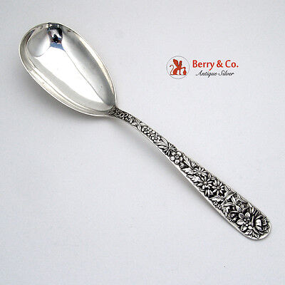 Repousse Salad Serving Spoon Kirk Old Mark Sterling Silver No Monogram