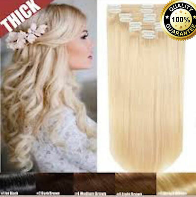 """Thick EXTRA Full Head Clip In Double Weft Remy Human Hair Extensions UK 10""""-24"""""""