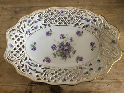 Pretty Schumann Reticulated Oval Bowl Violets Purple Flowers Gold Trim