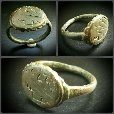 ANCIENT BRONZE INTAGLIO ISLAMIC LETTER BLESSING RING 12th to 14th CENTURY A.D.