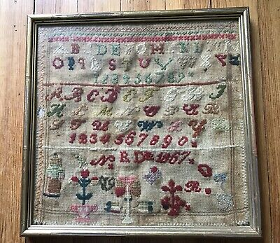 Nice Vintage Antique Sampler 1867 Date
