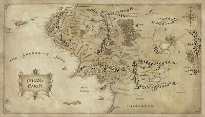 158025 Map of Middle Earth Lord Of The Rings Hobbit Decor Wall Poster Print AU