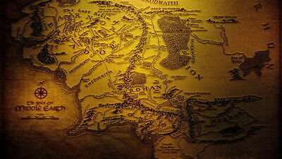 159162 Map of Middle Earth Lord Of The Rings Hobbit Decor Wall Poster Print AU