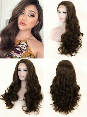 """AU 24"""" Brown Handtied Lace Front Wig Heat Resistant Hair Long Wavy Cosplay"""