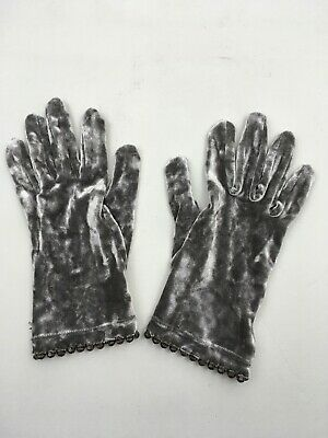 DENTS Gloves Grey Silver Velvet Size Small Beaded Edge Vintage Delicate