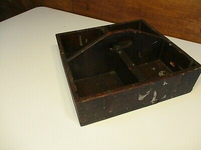 ANTIQUE OLD PRIMITIVE WOOD TOTE BOX TOOL CADDY GARDEN TRAY TABLE TOP early