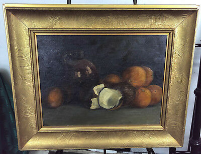 LYDIA HILL ORIGINAL STILL LIFE OIL PAINTING  early 20th Century