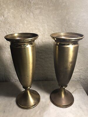 "VINTAGE MATCHING PAIR OF 16"" BRASS/Copper CHURCH ALTAR ROUND  ARRANGEMENT VASES"