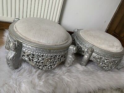 silver wooden hand crafted foot stool with velvet upholstery x2