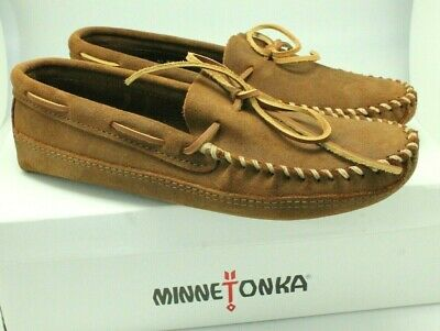 50d317b5f8dc Minnetonka Men s Moccasins Ruff Leather Double Bottom Softsole Moc Brown -  13