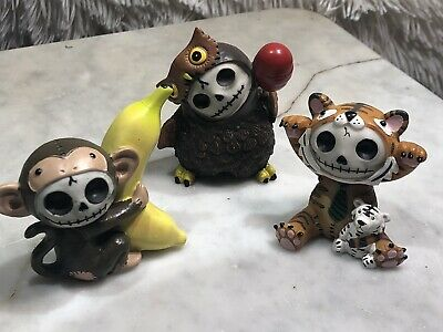 "Summit Furry Bones skull Collectible Figurine 3"" lot of 3 Monkey/Owl/Tiger"
