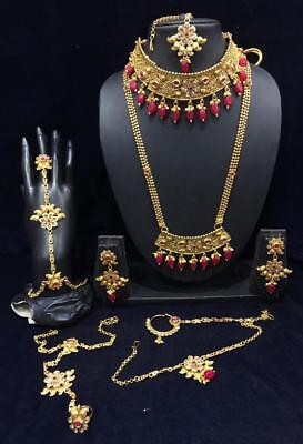 10pcs Bridal Necklace Set Red Lct Gold Kundan Jodha Akbar Party Ramadhn Eid Jewelry & Watches