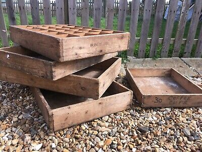 Vintage Wooden Blue Kettle Trays, Old Rustic Trays