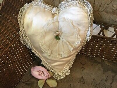 Antique vintage silk with tambour lace heart shape bridal~wedding~ring pillow