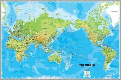 169487 World Map Large Detailed Physical Art Decor Wall Poster Print AU