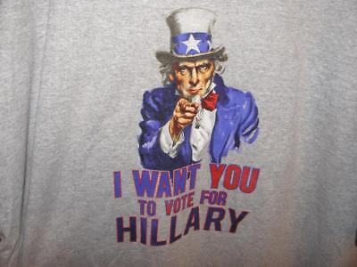Hillary for President I WANT YOU TO VOTE FOR HILLARY Uncle Sam Shirt sz 2XL NEW