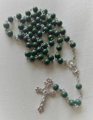 Dark green wood Rosary beads Our Lady medal and Crucifix Cross ~ Catholic