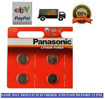 4 x Panasonic CR2032 Lithium Coin Cell 2032 3V Battery Car Key Fobs Toys Remote