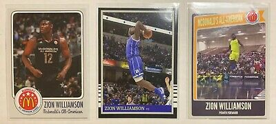 3 Different ZION WILLIAMSON Rookies RC McDonalds Duke ACEO
