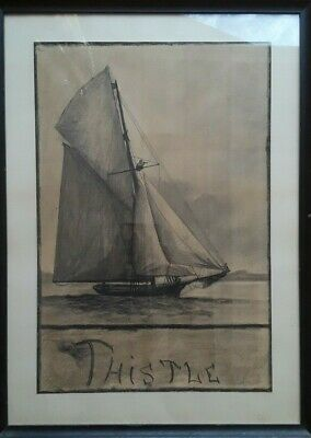 Antique! Folk Art Charcoal Drawing THISTLE Yacht 1887 AMERICAS CUP Race