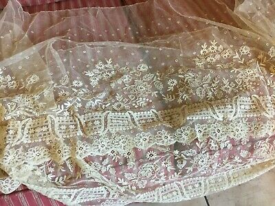 Antique vintage French tulle lace flounce trim for wedding~bridal~dress~sewing