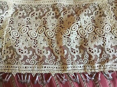 Antique vintage lace flounce trim with beadwork for wedding~bridal~dress~sewing