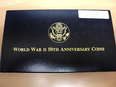 U.S. Mint World War II 50TH Anniversary 3 Coin Set Gold and Silver
