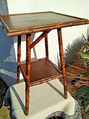 Vintage Oriental Bamboo Occasional Table Plant Jardiniere Stand