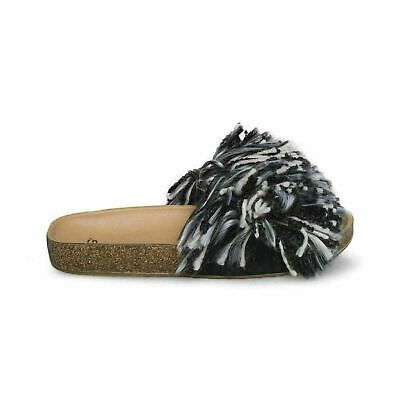e70d00e5c54e Ugg Cindi Black white Slide Fringe Cork Womens Flip Flops Sandals Size Us 8  New