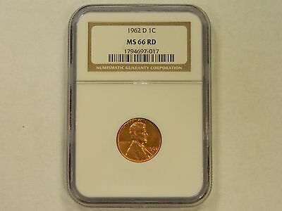 1962 D One Cent 1C  NGC MS66 RD Lincoln Memorial Penny