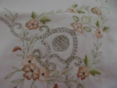 "Ling Ling tablecloth linen white embroidered scallop edge 43"" x 41 1/2"""