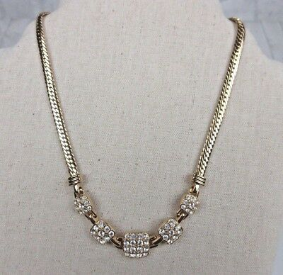 "Signed Swarovski Collar Necklace Pave Crystal Gold Plated 14.5-17/"" N243"