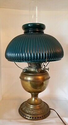 Antique Bradley & Hubbard Brass Oil Lamp with Original Green Glass Shade and Chi