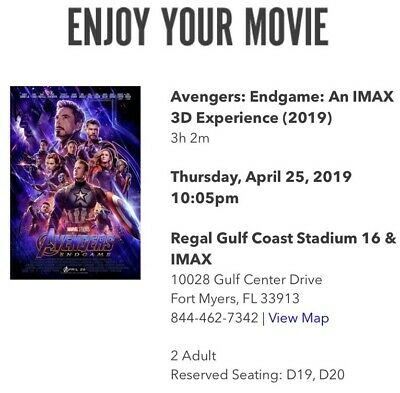 Avengers Endgame 2 Tickets - FORT MYERS FL - 4/25 OPENING NIGHT 3D IMAX 10:05 PM