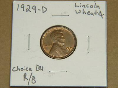 1929-D Lincoln Wheat Cent Coin Choice BU Red/Brown