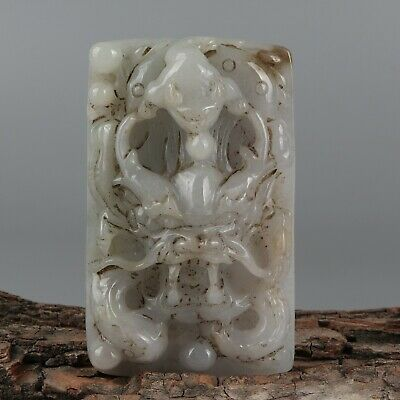 Chinese Exquisite Hand-carved Dragon Carving jadeite jade Pendant
