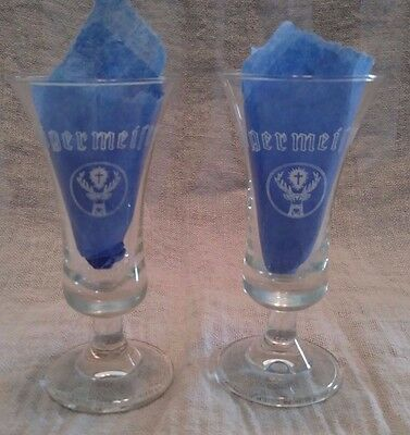 Jagermeister Small Footed Shot Glasses 3 3/4 Inches Tall 2Cl