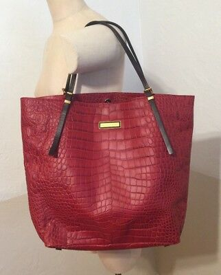 f3d95fa040c8 Michael Kors Collection Gia Red Croco Embossed Leather Shoulder Bag $895-