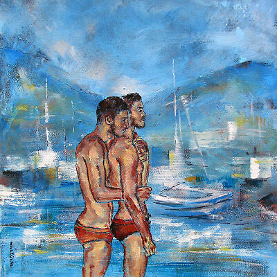 Two men boys couple original art painting male ocean seascape gay boats yachts