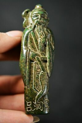 Delicate Chinese Natural Old Jade Carved *Ancient People* Pendant H53