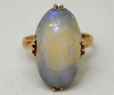 Antique Victorian 14K Solid Gold and Large Natural Opal Ring Size 6