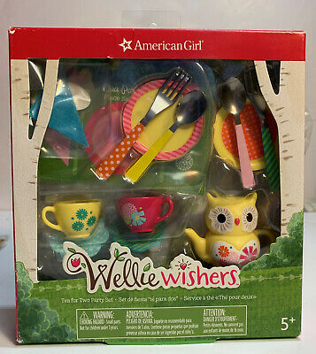 American Girl Doll Wellie Wishers 18 Piece Assessories Tea for Two Party Set NEW