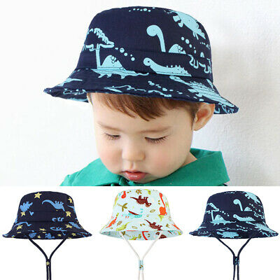 Kid's Bucket Hat Cotton Summer Beach Sun Cap + Adjustable Strap Cartoon Dinosaur