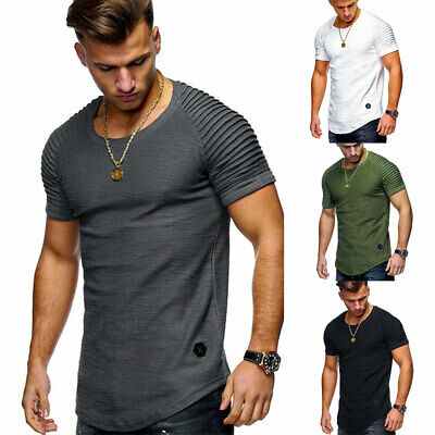 Sweat-Shirt Hommes T-shirt Solide Casual Slim Manches Courtes Muscle Tee Blouse