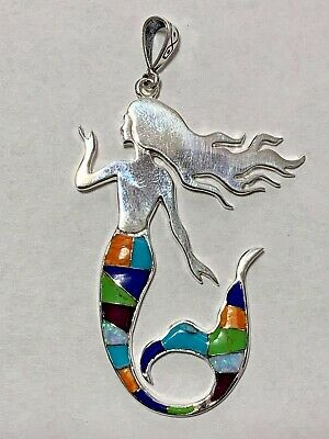 Sterling Silver Inlay Handmade Multi-Stone Larger Mermaid Smooth Back Pendant